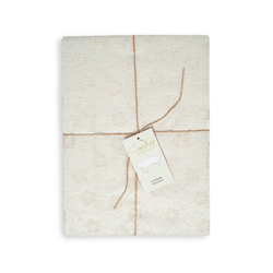 Cynthia Violet Simli Jakarlı Masa Örtüsü (Bej) - 150x250 cm