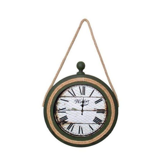 Resim  Atadan ATD35YS Halatlı Ahşap Dekoratif Saat - Yeşil