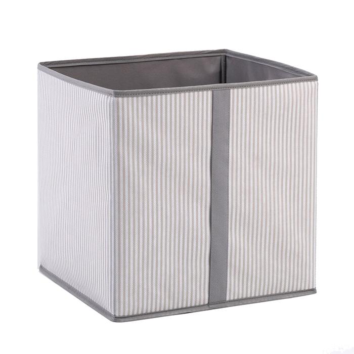 Ocean Home Çizgi Desenli Kapaksız Kutu (Gri) - 33x33x30 cm