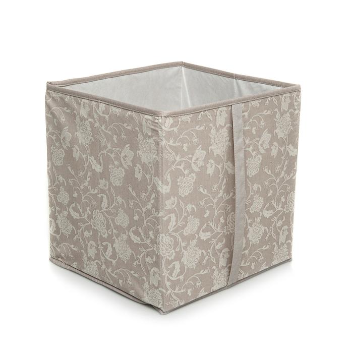 Resim  Ocean Home ÇiçekDesen Baskılı Kapaksız Kutu (Taş) - 33x33x30 cm