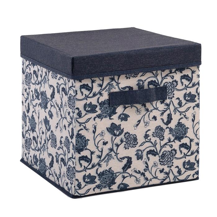 Ocean Home Çiçek Desen Baskılı Kapaklı Kutu (Lacivert) - 30x30x30 cm