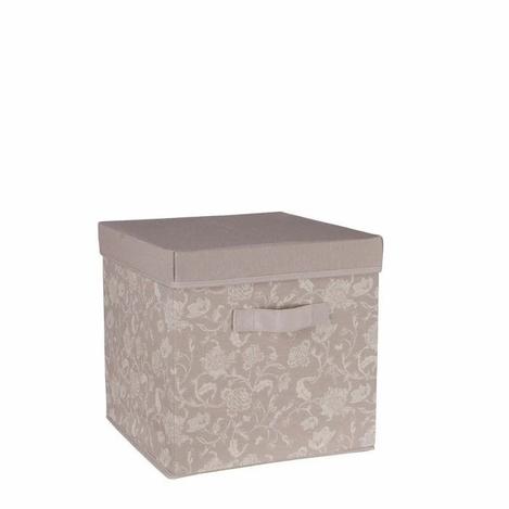 Ocean Home Renk ÇiçekDesen Baskılı Kapaklı Kutu (Taş) - 30x30x30 cm