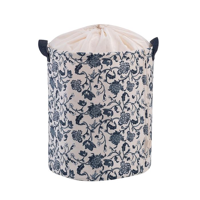 Ocean Home Lacivert Çiçek Katlanır Desenli Çamaşır Sepeti - 33x40 cm