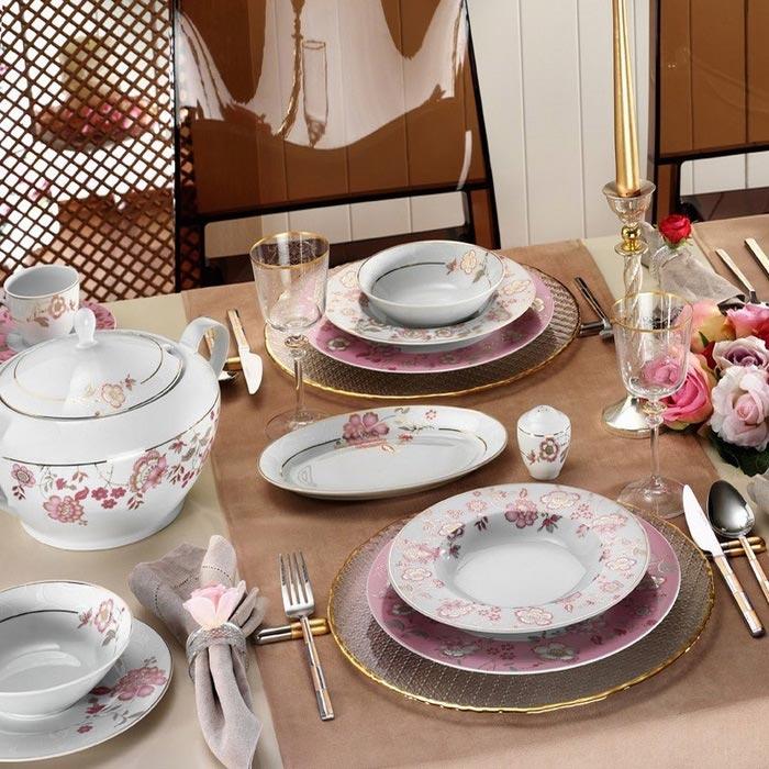 Resim  Kütahya Porselen 8579 83 Parça Desenli Yemek Takımı