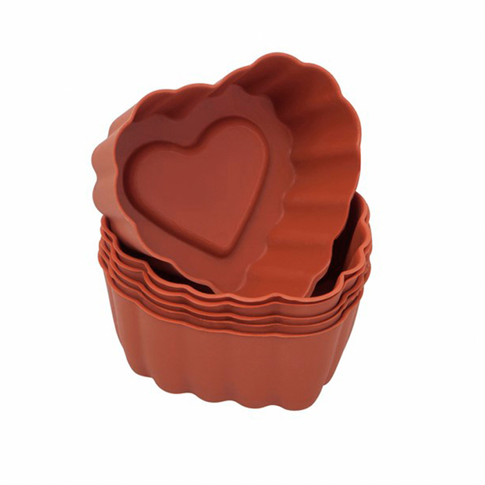 Resim  Silicolife Kalp 6'lı Muffin Kalıbı - Asorti