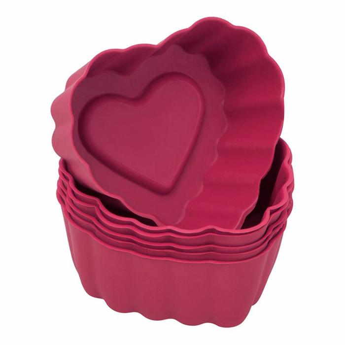 Silicolife 6'lı Kalp Muffin Kalıbı - Kırmızı