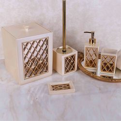 Selim Felica 5'li Banyo Aksesuar Seti - İnci/Altın
