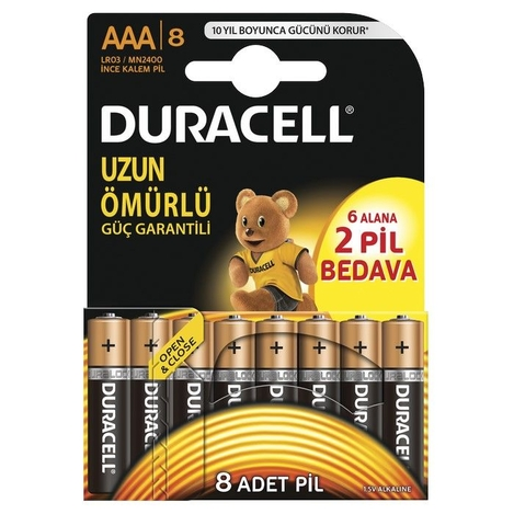 Duracell Basic İnce Kalem Pil 8'li AAA