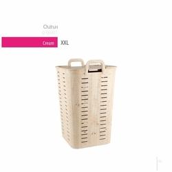 Qutu Basket Cream Çamaşır Sepeti - 70 lt