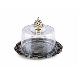 X-Dizayn Dama  Mini Kek Fanusu Gümüş - 22 cm