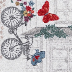 Confetti Spilled Flowers Banyo Paspası (Kırmızı) - 100x160 cm