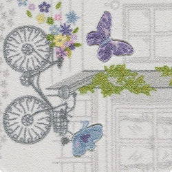 Confetti Spilled Flowers Banyo Paspası (Mor) - 80x140 cm