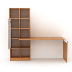 Rafevi Opus 147 Kitaplıklı Çalışma Masası - Bambu / Beyaz