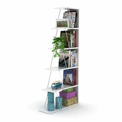Rafevi Tars Mini Kitaplık - Beyaz/Krom