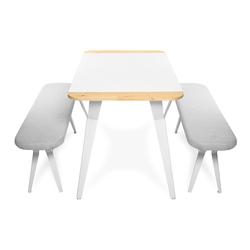 Just Home White Metal Ayaklı Yemek Masası Takımı - Beyaz