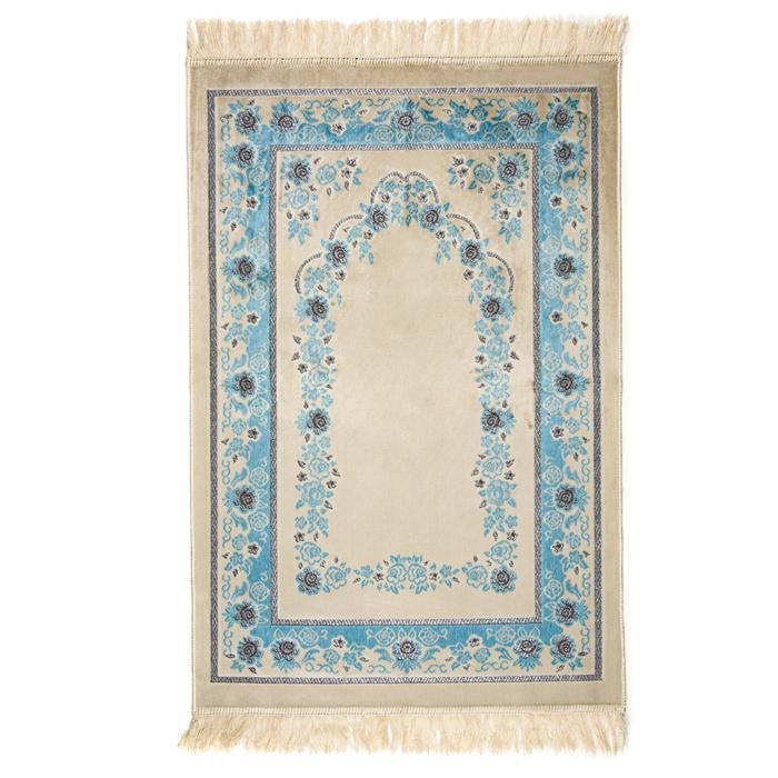 Resim  Kadifeteks Gümüş Simli Seccade - Mavi