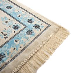 Kadifeteks Gümüş Simli Seccade - Mavi