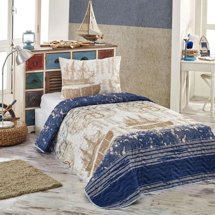 Eponj Home Pusula Tek Kişilik Yatak Örtüsü Takımı - Koyu Mavi
