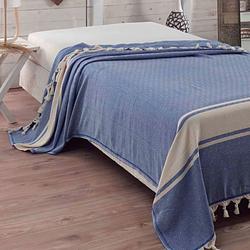 Eponj Home Natural Elmas Çift Kişilik Yatak Örtüsü - Mavi
