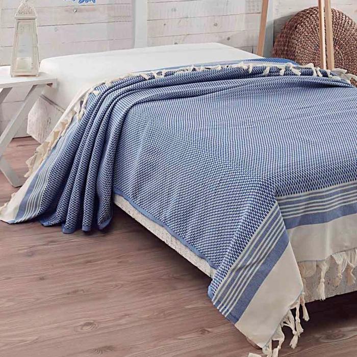 Eponj Home Natural Hasır Çift Kişilik Yatak Örtüsü - Mavi