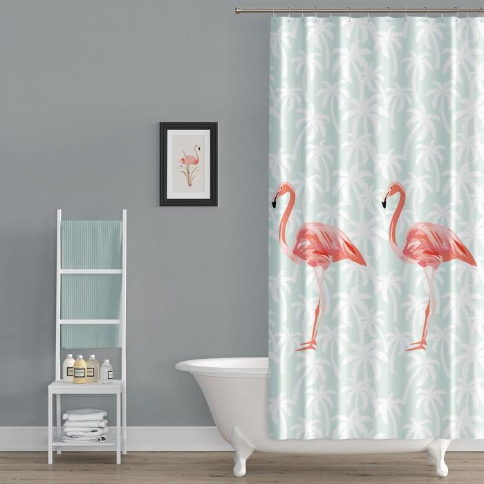 Resim  Tropik Flamingos Çift Kanat Banyo Perdesi