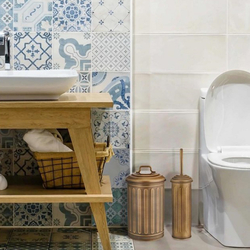 The Mia Çöp Kovası Tuvalet Fırçası Seti - Gold
