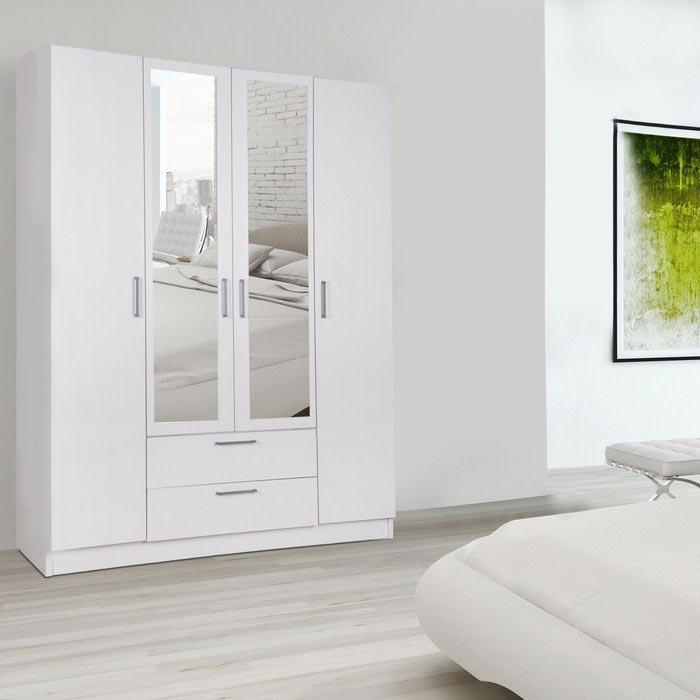 Resim  House Line Rumi 4 Kapılı 2 Çekmeceli Aynalı Gardırop - Beyaz