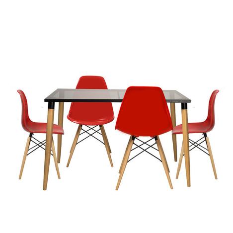 Resim  House Line LG-14 Legos Mona Masa Takımı (4 Sandalyeli) - Siyah/Kırmızı