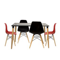 House Line LG-18 Legos Mona Masa Takımı (4 Sandalyeli) - Kırmızı/Siyah