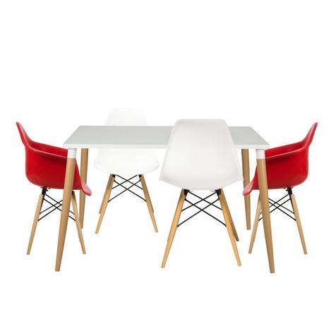 Resim  House Line LG-28 Legos Mona Lisa Masa Takımı (4 Sandalyeli) - Beyaz/Kırmızı
