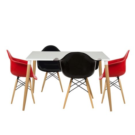 Resim  House Line LG-36 Legos Lisa Masa Takımı (4 Sandalyeli) - Beyaz/Kırmızı/Siyah