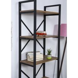 Just Home Athena 5 Raflı Metal Kitaplık - Çam/Siyah