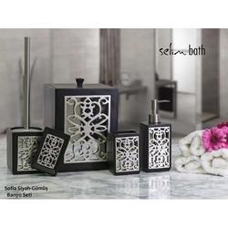 Selim Sofia Polyester 5'li Banyo Seti - Siyah/Gümüş