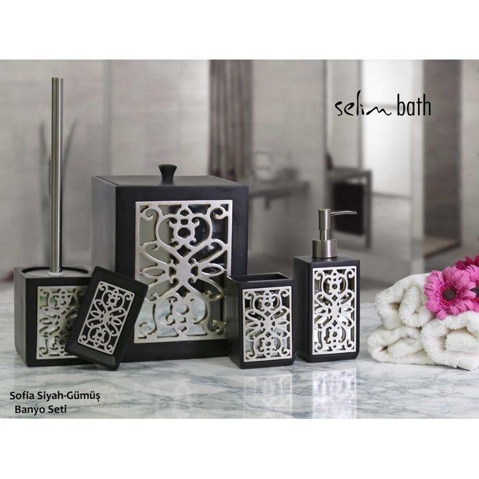 Resim  Selim Sofia Polyester 5'li Banyo Seti - Siyah/Gümüş