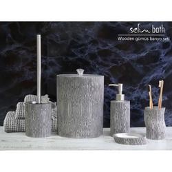 Selim Wooden Polyester 5'li Banyo Seti - Gümüş