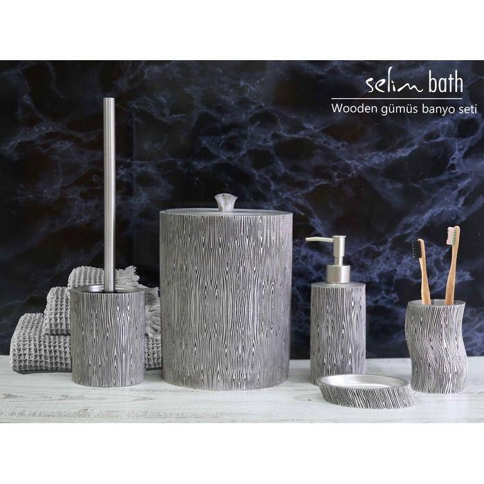 Resim  Selim Wooden Polyester 5'li Banyo Seti - Gümüş