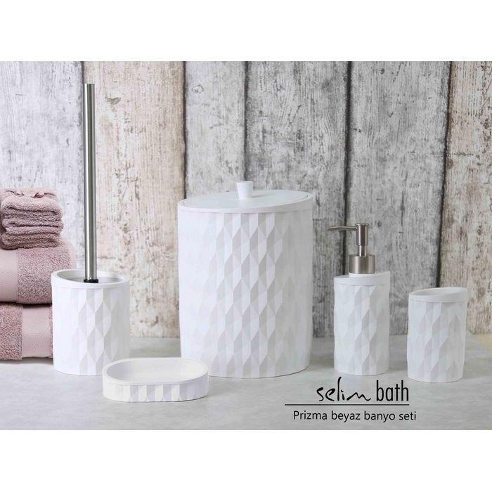 Resim  Selim Prizma Polyester 5'li Banyo Seti - Beyaz