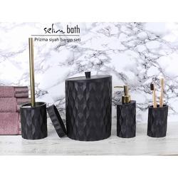 Selim Prizma Polyester 5'li Banyo Seti - Siyah