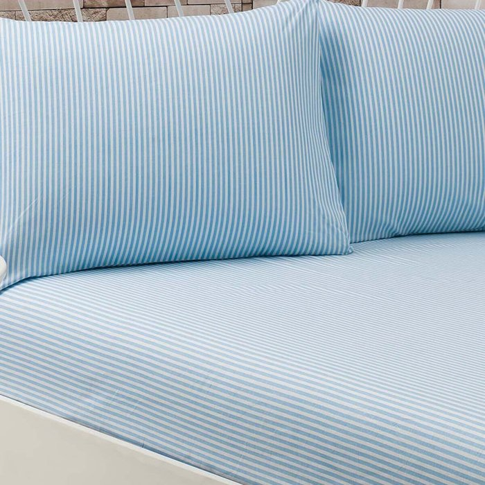 Eponj Home Lüx Çizgili Lastikli Çift Kişilik Çarşaf Takımı - Mavi