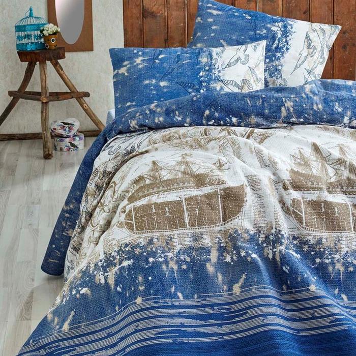 Eponj Home Pusula Doğal Baskılı Çift Kişilik Pike - Mavi