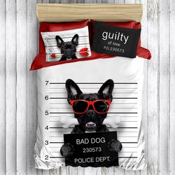 Eponj Home 3D Bad Dog Pamuk Çift Kişilik Nevresim Takımı - Siyah/Beyaz