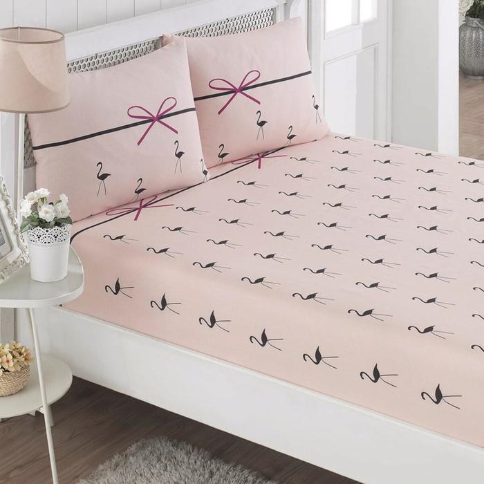 Eponj Home Flamingo Lastikli Tek Kişilik Çarşaf Seti (1 Alana 1 Bedava) - Pudra