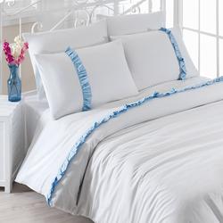 Eponj Home Manolya Fırfırlı Çift Kişilik Nevresim Takımı - Beyaz/Açık Mavi