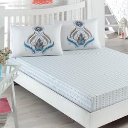 Eponj Home Eva Çift Kişilik Lastikli Çarşaf Takımı - Kahverengi/Turkuaz