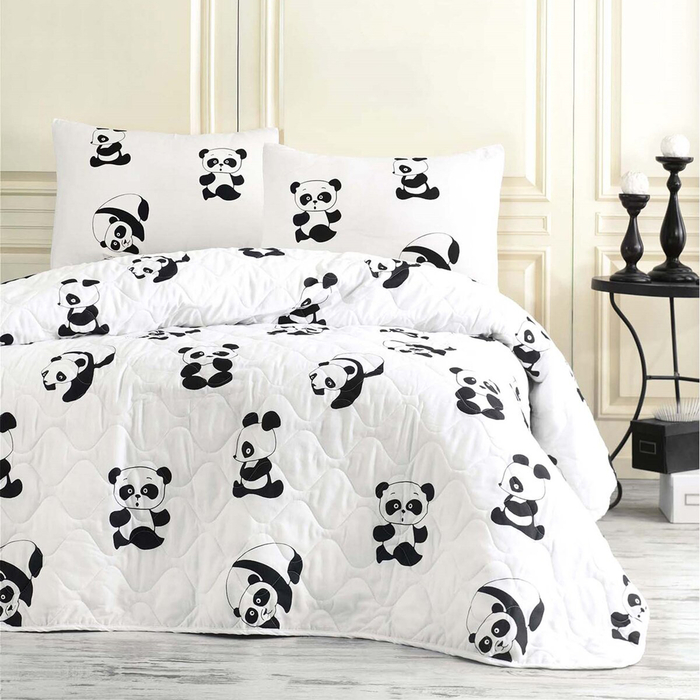 Resim  Eponj Home B&W Panda Çift Kişilik Yatak Örtüsü Takımı
