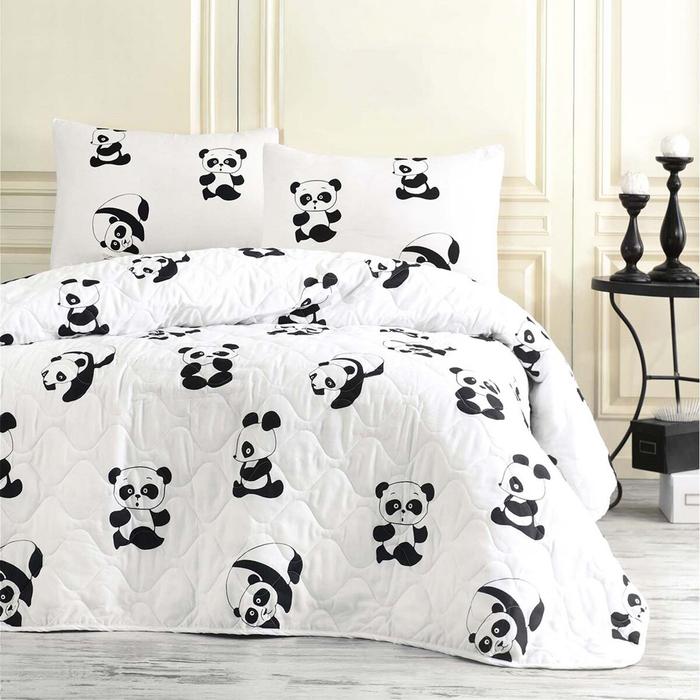 Resim  Eponj Home B&W Panda Tek Kişilik Yatak Örtüsü Takımı