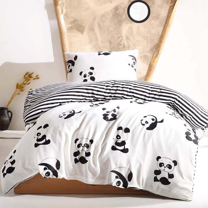Eponj Home B&W Panda Tek Kişilik Nevresim Takımı