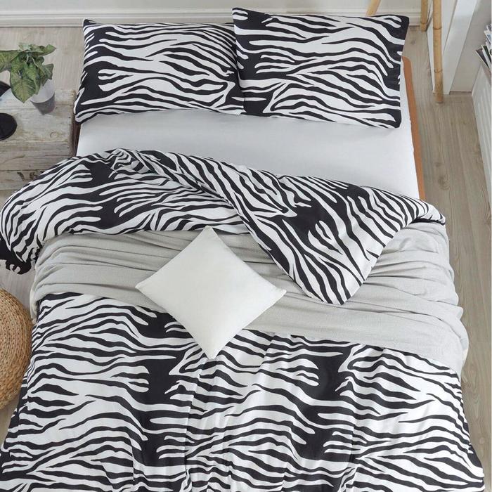 Eponj Home B&W Zebracasa Çift Kişilik Nevresim Takımı - Siyah/Beyaz