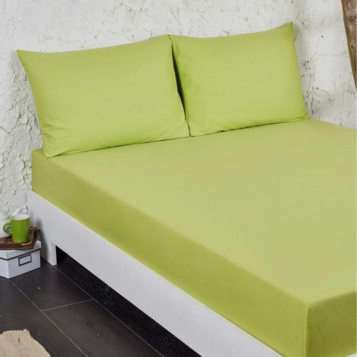 Eponj Home Flanel Çift Kişilik Çarşaf Seti - Fıstık Yeşili