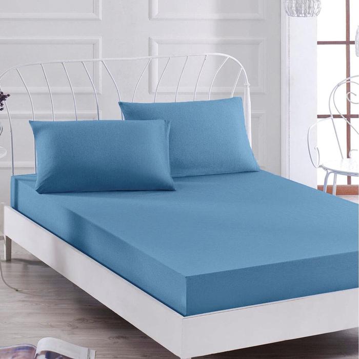 Eponj Home Paint Düz Boya Çift Kişilik Çarşaf Seti - Saks Mavi